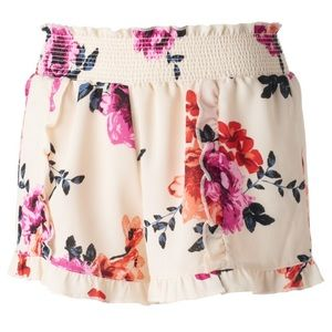 🎈About A Girl Floral Print Ruffle Hem Shorts